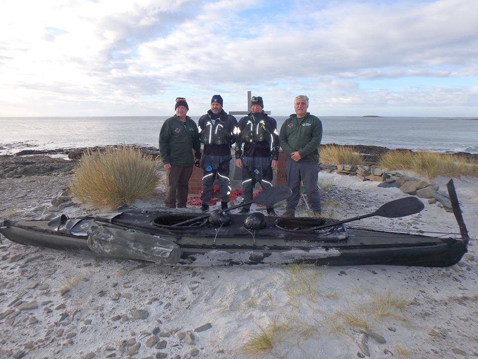 Former Royal Marines and Falklands veterans complete gruelling 120 mile kayak around Falkland Islands for PTSD awareness
