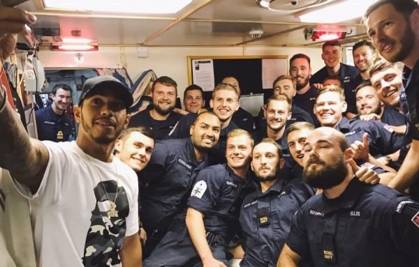 LEWIS HAMILTON SURPRISES SOLDIERS, SAILORS AND AIRMEN ON BOARD HMS MIDDLETON