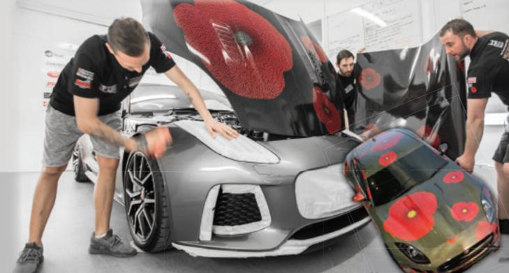 Jaguar F-TYPE Installation Gets Poppy Appeal Makeover